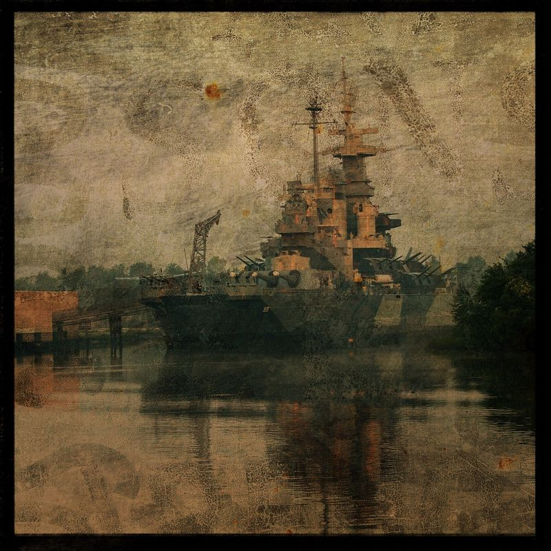 USS North Carolina - 8 in x 8 in Altered Photograph - product images