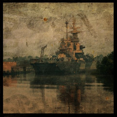 USS,North,Carolina,-,8,in,x,Altered,Photograph,Art,Photography,Surreal,digital,texture,moody,north_carolina,wilmington,battleship,ussnc,ship,paper,ink