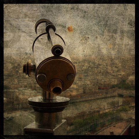 Eiffel,Tower,Telescope,-,8,in,x,Altered,Photograph,Art,Photography,Surreal,digital,brown,texture,moody,paris,france,europe,tower,paper,ink