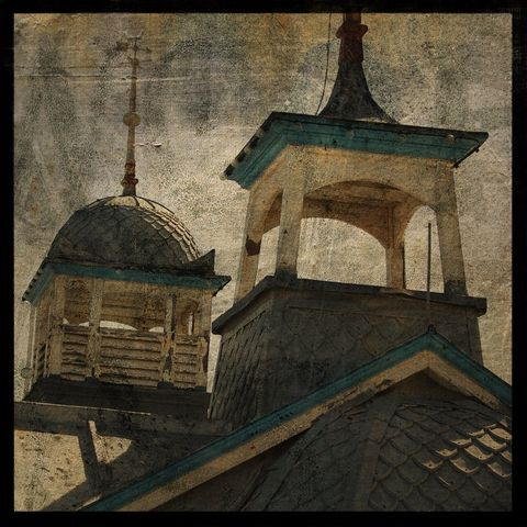 Eastbourne,Cupolas,-,8,in,x,Altered,Photograph,Art,Photography,Surreal,digital,brown,texture,moody,seaside,architectural,blue,uk,england,beach,eastbourne,paper,ink