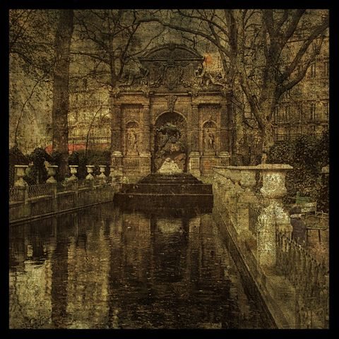 Luxemborg,Park,-,8,in,x,Altered,Photograph,Art,Photography,Digital,surreal,paris,france,french,texture,brown,sepia,paper,ink
