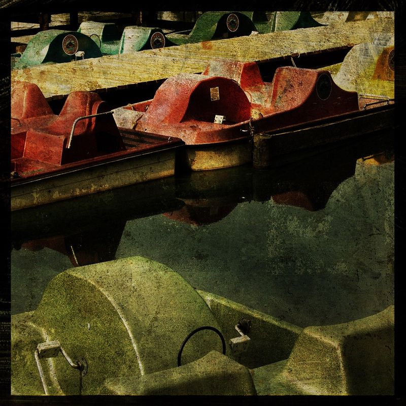 Paddleboats - 8 in x 8 in Altered Photograph - product images