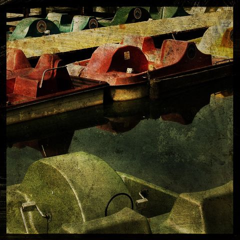 Paddleboats,-,8,in,x,Altered,Photograph,Art,Photography,Digital,surreal,boat,paddleboat,water,red,green,texture,altered,paper,ink