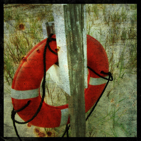 Lifesaver,-,8,in,x,Altered,Photograph,Art,Photography,Digital,surreal,ocean,beach,lifesaver,texture,orange,altered,paper,ink