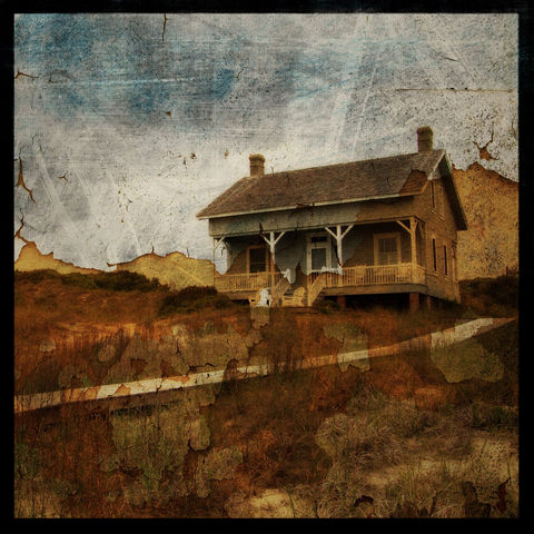 Captain,Charlie's,8,in,x,Altered,Photograph,Art,Photography,Surreal,cottage,beach,texture,moody,paper,ink