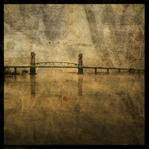 Bridge,8,in,x,Altered,Photograph,Art,Photography,Digital,surreal,bridge,river,brown,texture,moody,paper,ink