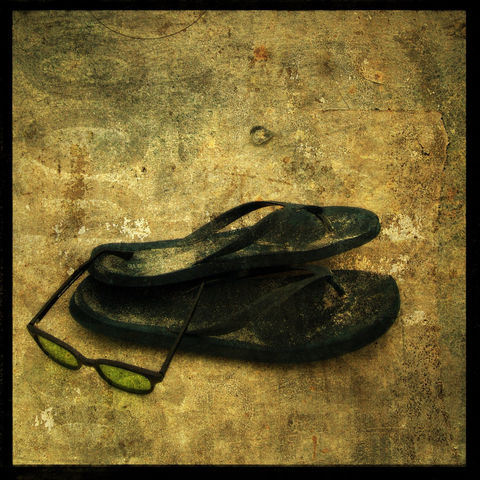 Beach,Trek,8,in,x,Altered,Photograph,Art,Photography,Surreal,digital,flip_flops,beach,ocean,color,sunglasses,moody,paper,ink