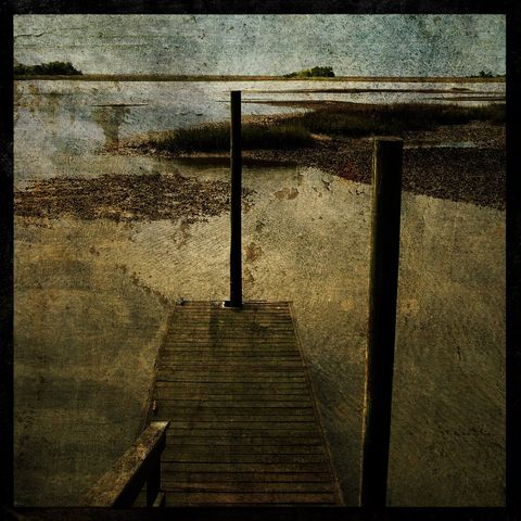 Oyster,Beds,-,8,in,x,Altered,Photograph,Art,Photography,Digital,surreal,nature,dock,oyster,water,texture,altered,paper,ink