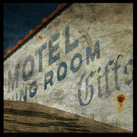 Motel,Dining,Room,Gifts,8,in,x,Altered,Photograph,Art,Photography,Surreal,moody,blue,altered,urban,texture,type,motel,kitsch,paper,ink