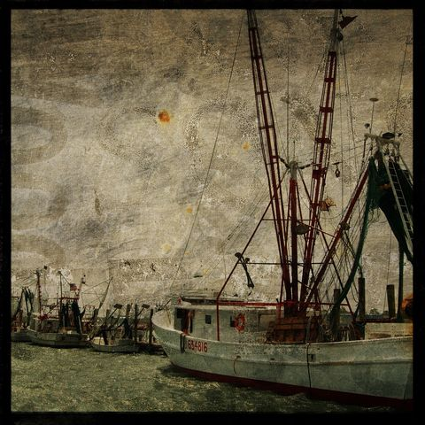Boat,Art,-,Fleet,No.,1,8,in,x,Altered,Photograph,Photography,Surreal,digital,brown,texture,moody,ocean,shrimpboat,ship,shrimp,valentine_men,boat_art,paper,ink