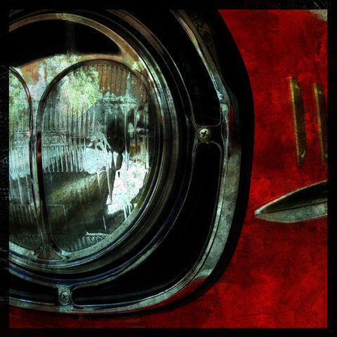 Bel,Air,8,in,x,Altered,Photograph,Art,Photography,Digital,car,red,bel_air,texture,headlight,paper,ink