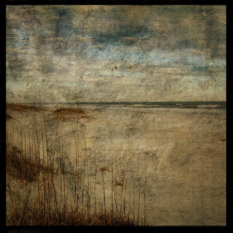 Masonboro,Island,No.,14,-,8,in,x,Altered,Photograph,Art,Photography,Nature,surreal,digital,brown,texture,moody,ocean,sea,dune,blue,paper,ink