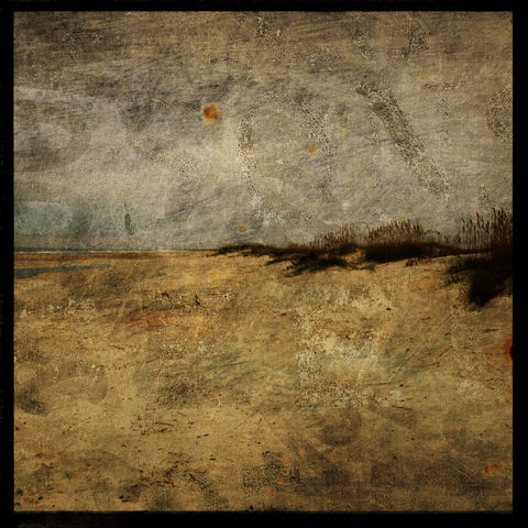 Masonboro,Island,No.,9,-,8,in,x,Altered,Photograph,Art,Photography,Surreal,digital,brown,texture,moody,ocen,sea,dune,blue,masonboro,altered,paper,ink