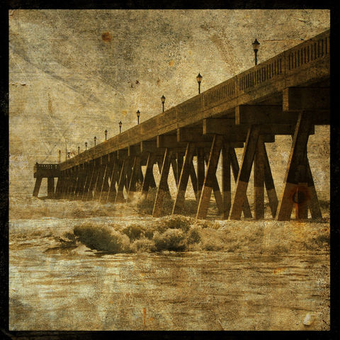 Ocean,Pier,No.,2,-,8,in,x,Altered,Photograph,Art,Photography,Surreal,digital,pier,ocean,coastal,altered,texture,paper,ink