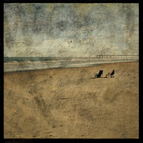 Beach,Chairs,Photo,-,North,End,8,in,x,Altered,Photograph,Art,Photography,Nature,surreal,digital,brown,texture,moody,ocean,sea,Beach_Chairs_Photo,wrightsville_beach,paper,ink
