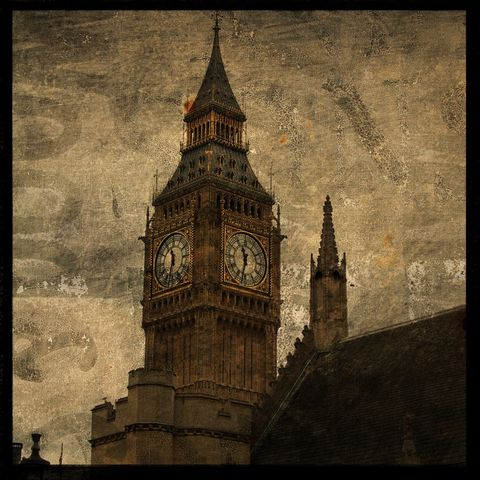London,Photograph,-,St.,Stephen's,Tower,No.,1,8,in,x,Altered,Art,Photography,Surreal,digital,brown,texture,moody,urban,england,big_ben,europe,architectural,british,london_photograph,paper,ink
