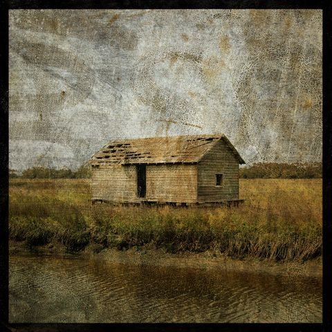 Boathouse,No.,1,-,8,in,x,Altered,Photograph,Art,Photography,Surreal,digital,brown,texture,moody,bald_head,island,ocean,marsh,boathouse,boat,paper,ink