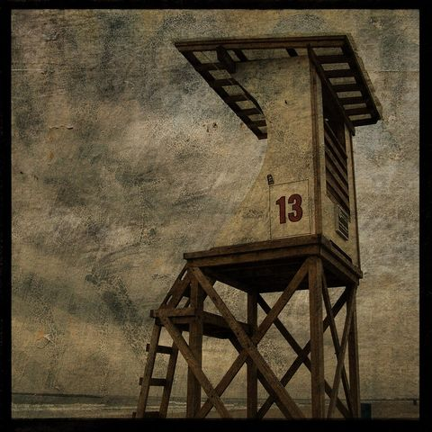 Stand,13,-,8,in,x,Altered,Photograph,Art,Photography,Surreal,digital,brown,texture,moody,island,ocean,seaside,sand,beach,lifeguard,stand,paper,ink