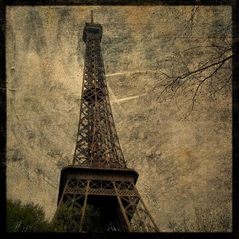 Paris,Art,-,Eiffel,Tower,No.,4,8,in,x,Altered,Photograph,Photography,Surreal,digital,brown,texture,moody,eiffel,tower,france,europe,Paris_Art,paper,ink