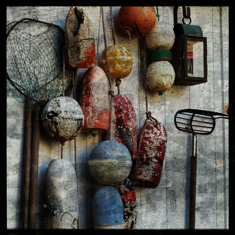 Tools,-,8,in,x,Altered,Photograph,Art,Photography,Surreal,digital,brown,texture,moody,sea,blue,altered,ocean,beach_art,float,summer,clam_rake,dip_net,paper,ink
