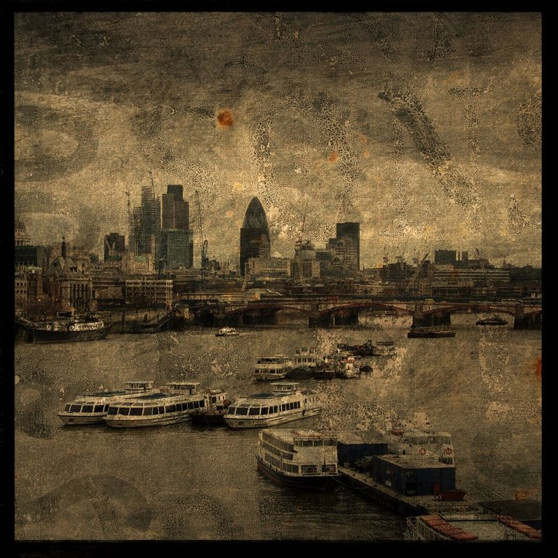 Thames River No. 1 - 8 in x 8 in Altered Photograph - product images