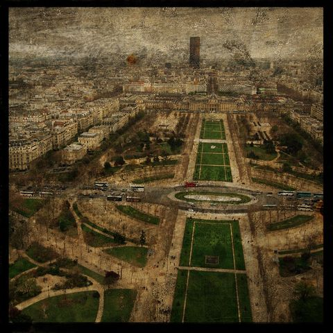 Paris,Sky,line,No.,5,-,8,in,x,Altered,Photograph,Art,Photography,Digital,surreal,texture,paris,france,skyline,paper,ink