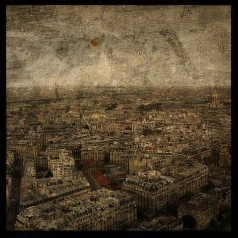 Paris,Sky,line,No.,4,-,8,in,x,Altered,Photograph,Art,Photography,Digital,surreal,texture,paris,france,skyline,paper,ink