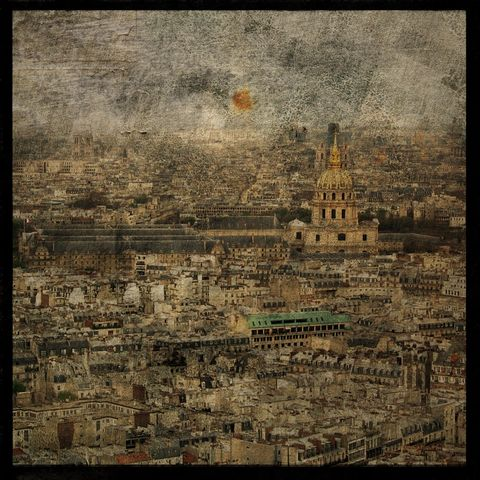 Paris,Sky,line,No.,3,-,8,in,x,Altered,Photograph,Art,Photography,Digital,surreal,texture,paris,france,skyline,paper,ink