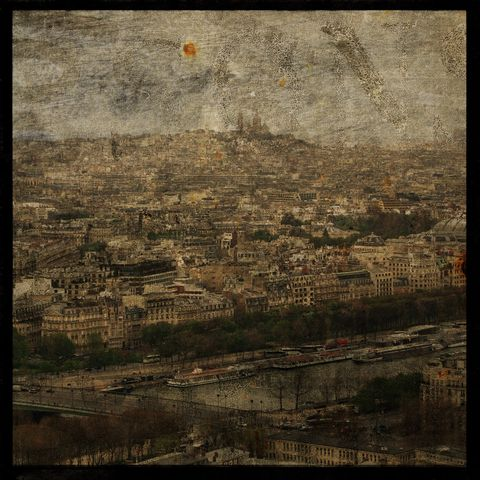 Paris,Sky,line,No.,2,-,8,in,x,Altered,Photograph,Art,Photography,Digital,surreal,texture,paris,france,bateaux,mouches,skyline,paper,ink