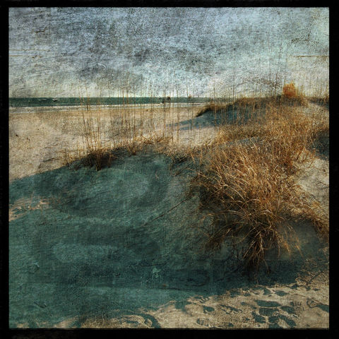 Wrightsville,Dunes,No.,1,-,8,in,x,Altered,Photograph,Art,Photography,Nature,surreal,digital,brown,texture,moody,wrightsville,carolina,beach,ocean,sea,dune,paper,ink