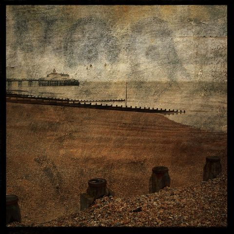 The,Beach,at,Eastbourne,No.,1,-,8,in,x,Altered,Photograph,Art,Photography,Surreal,digital,brown,texture,moody,pier,eastbourne,england,europe,ocean,uk,seaside,paper,ink