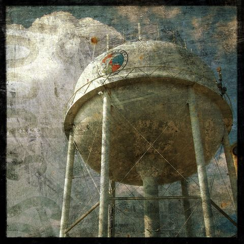 North,End,Tower,No.,1,-,8,in,x,Altered,Photograph,Art,Photography,Surreal,digital,brown,texture,moody,coastal,water_tower,wrightsville,north_carolina,paper,ink