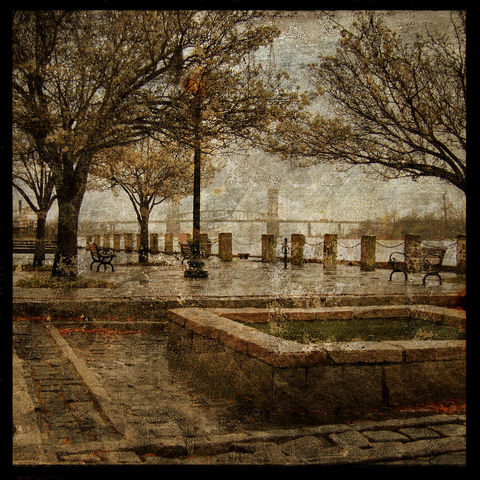 Riverfront,Park,8,in,x,Altered,Photograph,Art,Photography,Digital,surreal,bridge,river,brown,texture,moody,paper,ink