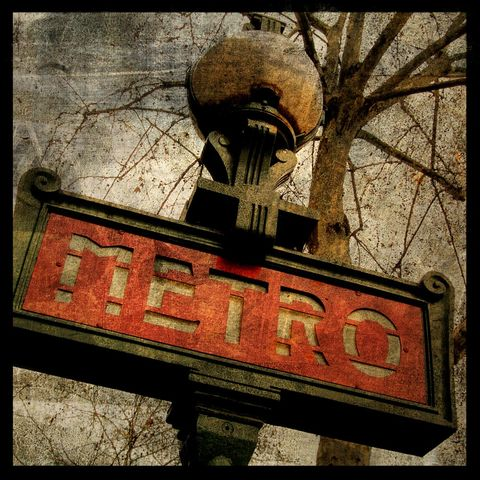 Metro,No.,2,-,8,in,x,Altered,Photograph,Art,Photography,Surreal,digital,brown,texture,moody,paris,metro,europe,france,red,urban,french,paper,ink