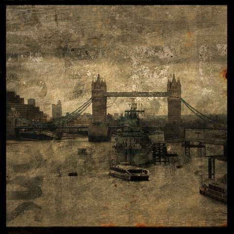 Tower,Bridge,No.,1,-,8,in,x,Altered,Photograph,Art,Photography,Surreal,digital,brown,texture,moody,england,thames,river,tower,bridge,boat,british,paper,ink