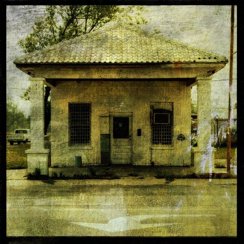 Rural,Gas,Station,No.,1,-,8,in,x,Altered,Photograph,Art,Photography,Digital,surreal,texture,rural,gas_station,building,paper,ink