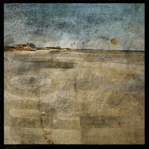 Lines,and,Pools,-,8,in,x,Altered,Photograph,Art,Photography,Surreal,digital,brown,texture,moody,sea,blue,altered,ocean,beach_art,tidal,paper,ink