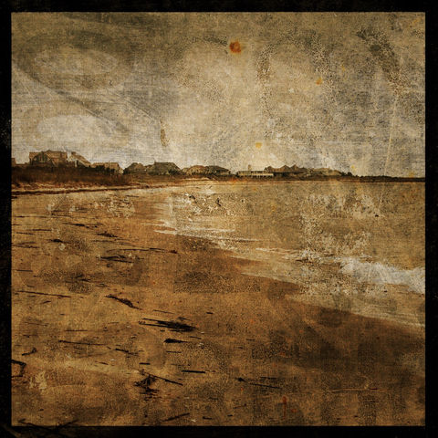 Cottages,No.,1,-,8,in,x,Altered,Photograph,Art,Photography,Surreal,digital,brown,texture,moody,ocean,sea,beach,cottage,seaside,paper,ink