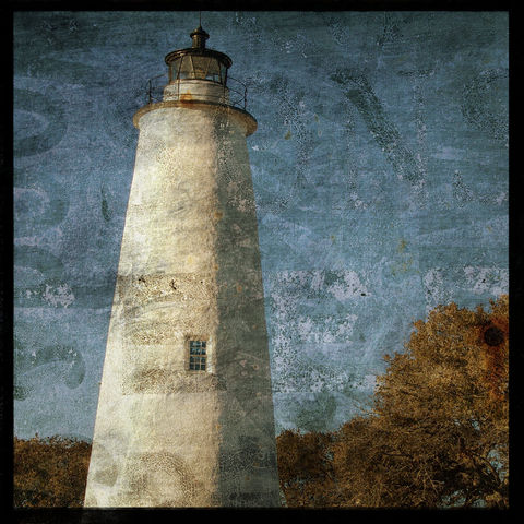 Ocracoke,Light,-,8,in,x,Altered,Photograph,Art,Photography,Surreal,digital,brown,texture,moody,sea,dune,blue,altered,lighthouse,ocean,paper,ink