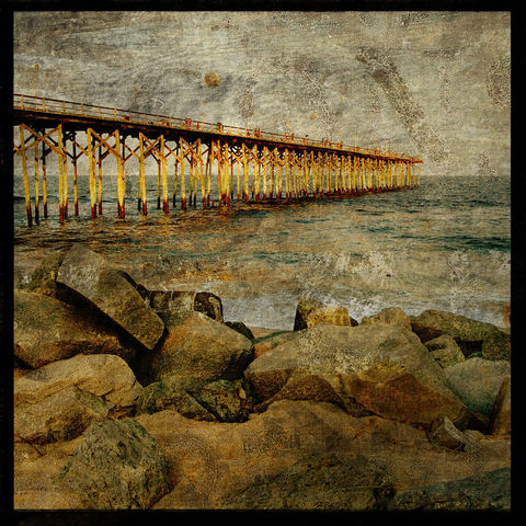 North,End,Pier,-,8,in,x,Altered,Photograph,Art,Photography,Digital,surreal,pier,ocean,sea,brown,texture,altered,paper,ink