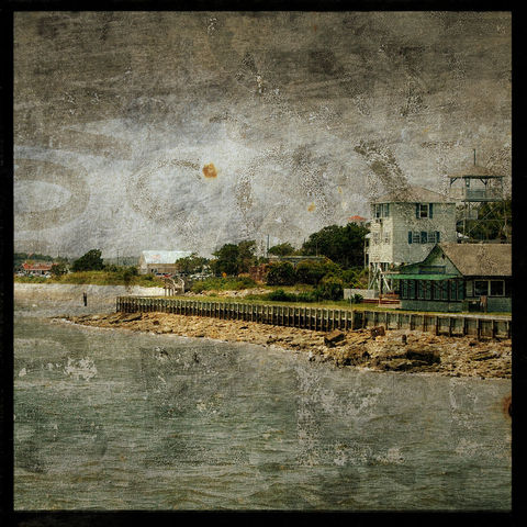 Southport,Waterfront,No.,1,-,8,in,x,Altered,Photograph,Art,Photography,Surreal,digital,brown,texture,moody,island,ocean,seaside,sand,beach,river,paper,ink