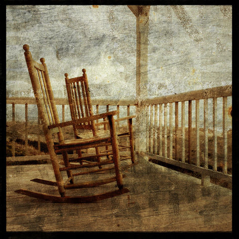 Rockers,-,8,in,x,Altered,Photograph,Art,Photography,Surreal,digital,brown,texture,moody,sea,dune,blue,altered,ocean,sand_dune,rocking_chairs,porch,paper,ink