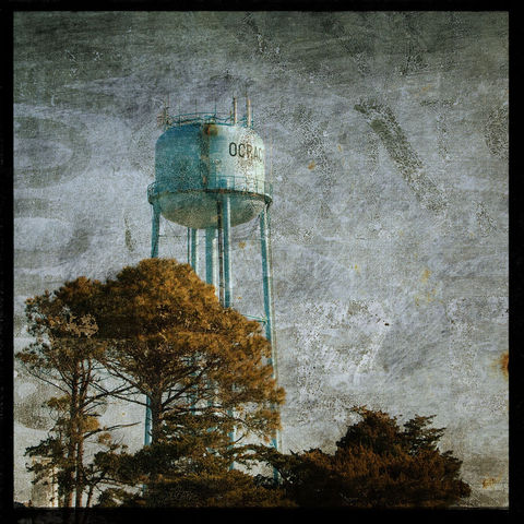 Ocracoke,Watertower,-,8,in,x,Altered,Photograph,Art,Photography,Surreal,digital,brown,texture,moody,sea,dune,blue,altered,ocean,ocracoke,water_tower,paper,ink