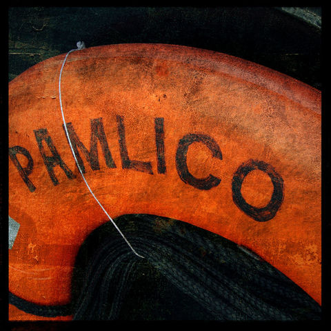 Pamlico,-,8,in,x,Altered,Photograph,Art,Photography,Surreal,digital,texture,moody,boat,orange,life_preserver,southport,north_carolina,paper,ink