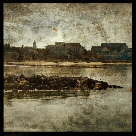 Harbor,-,8,in,x,Altered,Photograph,Art,Photography,Surreal,digital,brown,texture,moody,sea,blue,altered,ocean,beach_art,harbor,lighthouse,paper,ink
