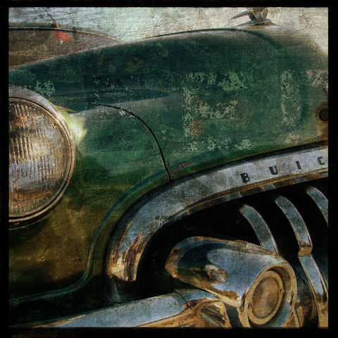 Buick,No.,3,-,8,in,x,Altered,Photograph,Art,Photography,Surreal,digital,brown,texture,moody,car,auto,buick,green,paper,ink