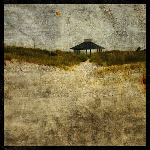 Wrightsville,Beach,Gazebo,-,8,in,x,Altered,Photograph,Art,Photography,Surreal,digital,texture,moody,north_carolina,wrightsville_beach,gazebo,beach,ocean,paper,ink