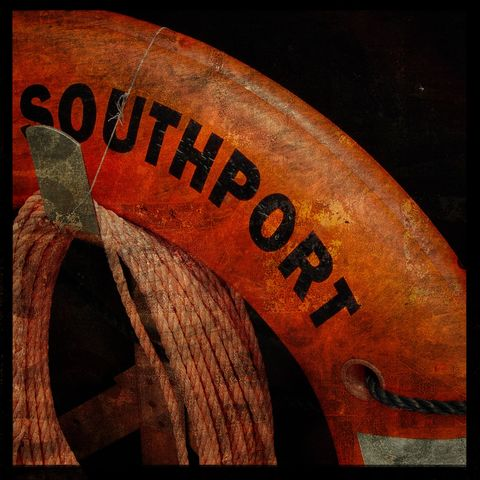 Southport,-,8,in,x,Altered,Photograph,Art,Photography,Surreal,digital,texture,moody,boat,orange,life_preserver,southport,north_carolina,paper,ink