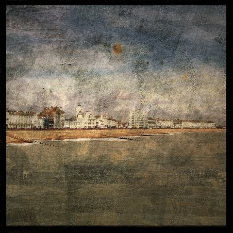 The,Oceanfront,at,Eastbourne,-,8,in,x,Altered,Photograph,Art,Photography,Surreal,digital,brown,texture,moody,ocean,seaside,waves,green,blue,eastbourne,england,paper,ink