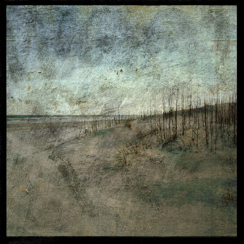 Masonboro,Island,No.,5,-,8,in,x,Altered,Photograph,Art,Photography,Nature,surreal,digital,texture,moody,blue,gray,sea,ocean,dune,paper,ink